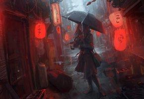 Обои девушка, город, ночь, дождь, зонт