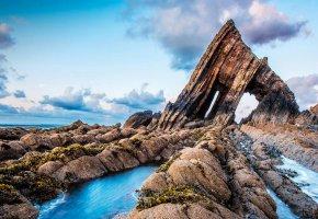 Обои облака, скалы, Англия, море, камни