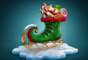 Обои Новый Год, праздник, подарки, конёк, Рождество