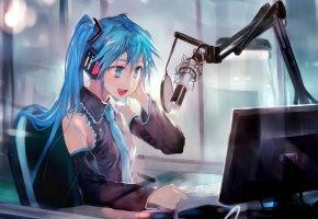Обои art, vocaloid, hatsune miku, anime, девушка, микрофон, монитор, арт
