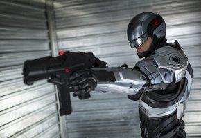 Обои фантастика, киборг, robocop, робокоп, робот, оружие