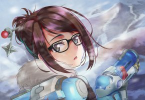 Обои Blizzard, Overwatch, Mei, девушка, оружие, взгляд