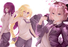 Обои art, девушки, anime, персонажи, школьницы, улыбка, глаза