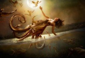 Обои луна, вода, девушка, полёт, арт, Diversity, фантазия