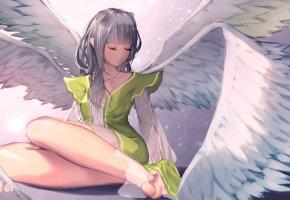 Обои аниме, ангел, фентази, арт, крылья, девушка