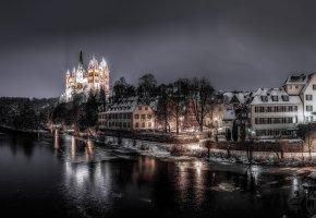 Обои собор, Лимбург, Германия, зима, река