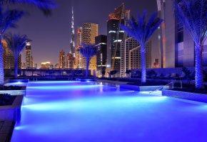 Обои город, Дубаи, ОАЭ, вечер
