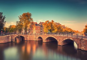 Обои Amsterdam, Netherlands, Амстердам, Нидерланды, мост, река, здания