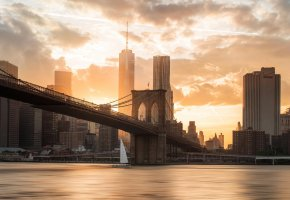 Обои мост, Бруклин, закат, река, город, США