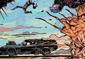 Обои авто, нагнетатель, Fury Road, Mad Max, V8, car, auto, art, Ford Falcon XB, Форд Фалкон, взрыв, Макс Рокатански, Безумный Макс: Дорога ярости, 1973