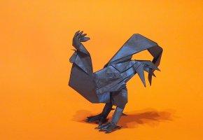 Обои оригами, петух, бумага