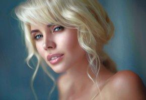 Обои девушка, портрет, блондинка, губы, глаза, лицо