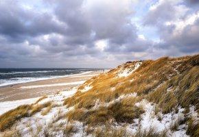 Обои зима, дюны, пляж, море, трава, небо