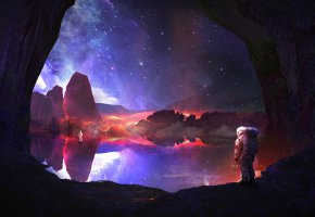 Обои планета, скалы, небо, космонавты, звёзды