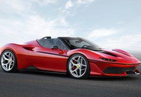 Обои car, horse, Ferrari, J50, red, Феррари, красный