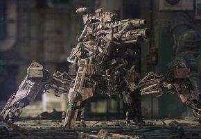 Обои Robot, metal, Робот, Металл, пушка, оружие