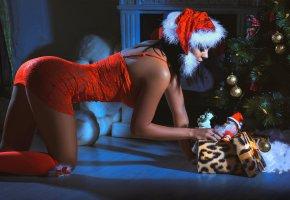 Обои снегурочка, подарок, девушка, елка, ночь, праздник, красивая