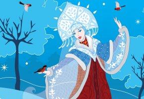 Обои Снегурочка, снегири, Новый год, зима, арт, снег, праздник, вектор