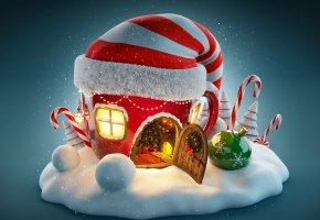 Обои Новый Год, snow, Рождество, merry christmas, игрушки
