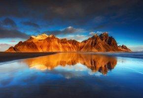 Обои небо, облака, Исландия, пляж, отражения, горы