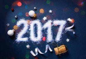 Обои 2017, пробка, фон, шарики, Новый Год, праздник