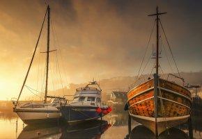 Обои гавань, рассвет, лодки, яхты, Англия, пристань, утро