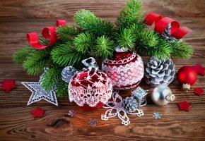 Обои шары, рождество, ветки, елка, украшения, новый, год