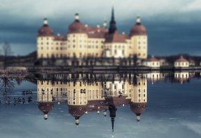 Обои Германия, архитектура, охотничий замок, отражение, Замок, Морицбург