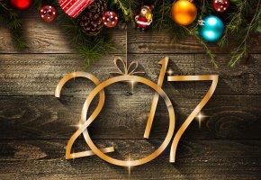 Обои новый год, 2017, праздник, украшения, надпись, дата