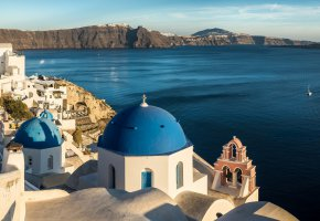 Обои побережье, Aegean, Greece, Santorini, море
