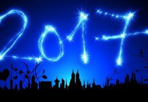 Обои 2017, новый год, сердечки, орнамент, фон, звёзды, дата, вектор, здания, голубой, сумерки, ночь