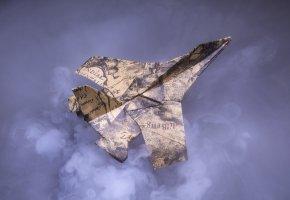 Обои бумага, фон, истребитель, оригами, самолет