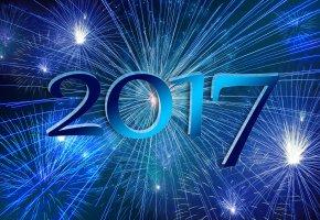 Обои арт, 2017, фейерверк, дата, праздник, Новый Год