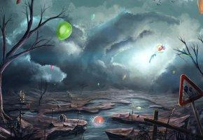 Обои апокалипсис, арт, река, облака, воздушные шары, фантастика, знак