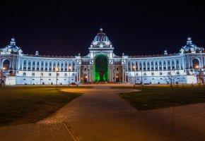 Обои Архитектура, Дворец, ночь, дерево, огни, Казань, Татарстан, здание, подсветка