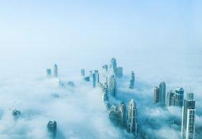 Обои fog, dubai, здания, Дубаи, дома, туман
