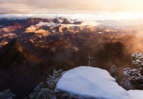 Обои облака, небо, туман, зима, каньон, снег, свет