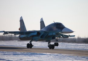 Обои Оружие, российский, самолёт, бомбардировщик, Су-34