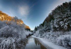 Обои зима, река, утро, деревья, снег, пейзаж