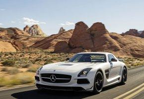 Обои Mercedes-Benz, AMG, SLS, мерседес, скорость, дорога