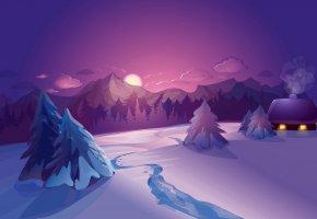 Обои зима, домик, лес, снег, вечер, горы
