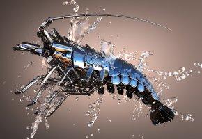 Обои Омар, капли, блеск, 3D, металл, вода