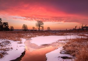 Обои зима, снег, небо, вечер, вода, река, лед