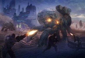 Обои оружие, битва, арт, солдаты, роботы, город