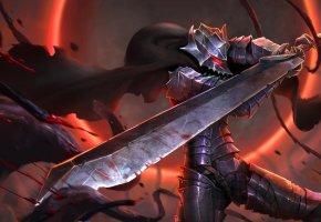 Обои Воин, меч, битва, доспехи, anime, сила