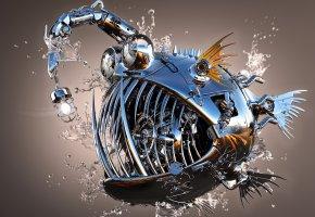 Обои капли, блеск, рыба, металл, 3D, вода