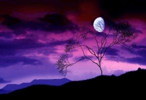 Обои Горы, дерево, небо, облака, луна