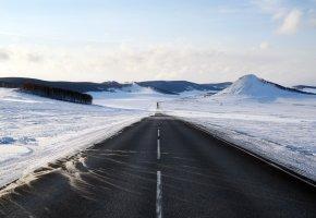 Обои зима, снег, дорога, горы, горизонт