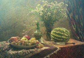 Обои букет, Натюрморт, арбуз, фрукты, нож, стол