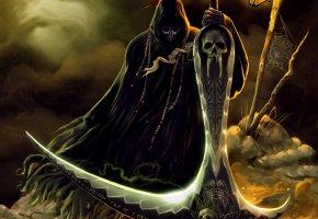 Обои скелет, смерть, арт, fantasy, ночь, череп, фонарь, символы, коса, фантастика